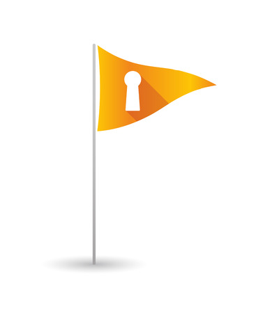 key hole: Illustration of a golf flag with a key hole Illustration