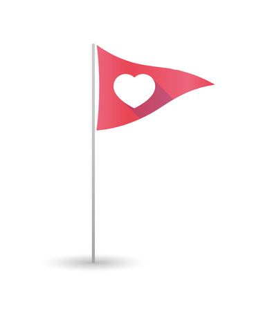 Illustration of a golf flag with a heart Illustration
