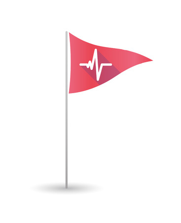 heart health: Illustration of a golf flag with a heart beat sign