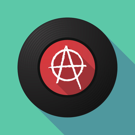 anarchist: Illustration of a long shadow vinyl record with an anarchy sign Illustration