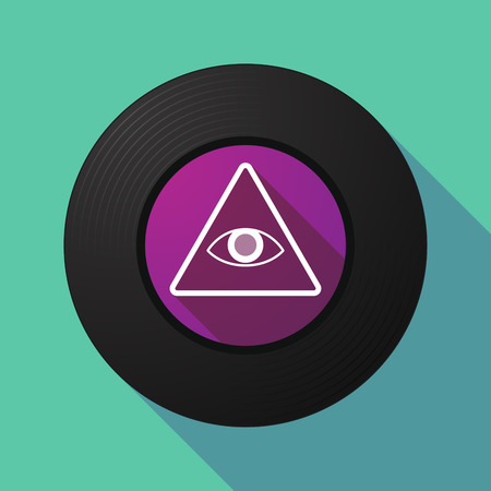 all seeing eye: Illustration of a long shadow vinyl record with an all seeing eye