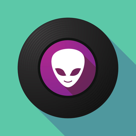alien face: Illustration of a long shadow vinyl record with an alien face