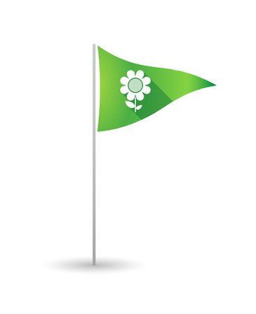 Illustration of a golf flag with a flower