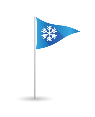 christmas golf: Illustration of a golf flag with a snow flake