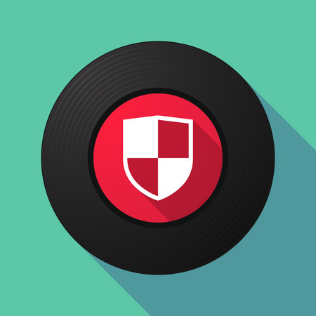safe and sound: Illustration of a long shadow vinyl record with a shield Illustration