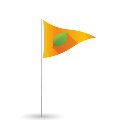 Illustration of a golf flag with a leaf