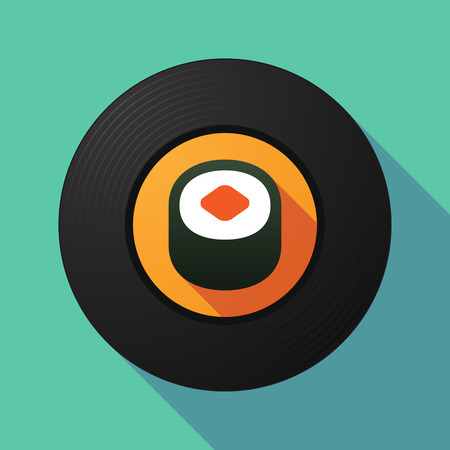cuisine entertainment: Illustration of a long shadow vinyl record with a piece of sushi
