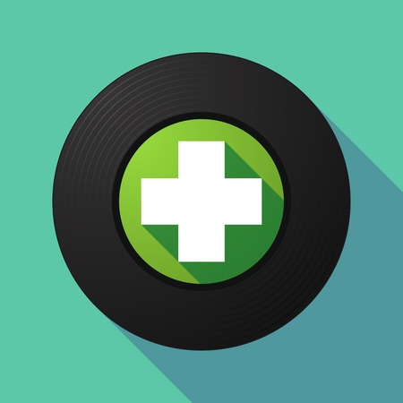 pharmacy sign: Illustration of a long shadow vinyl record with a pharmacy sign