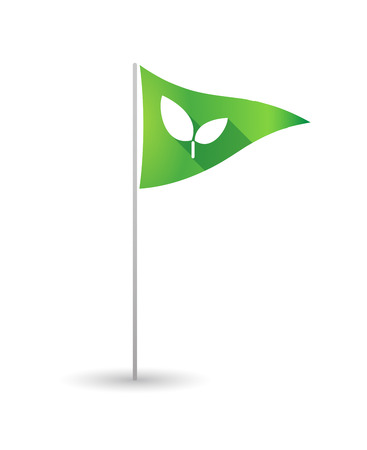 Illustration of a golf flag with a plant