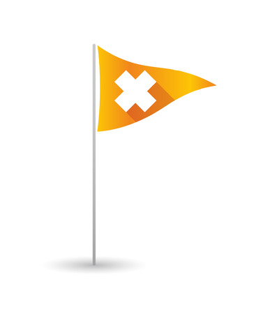 alerting: Illustration of a golf flag with an irritating substance sign Illustration