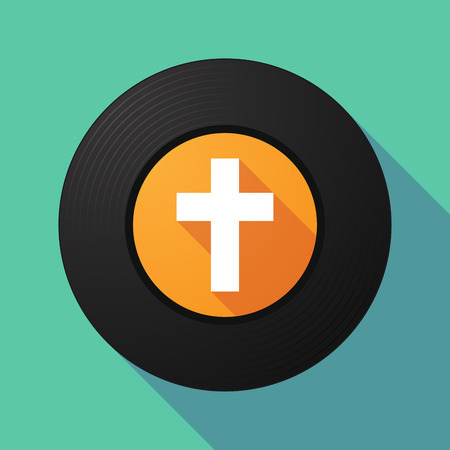 long play: Illustration of a long shadow vinyl record with a christian cross