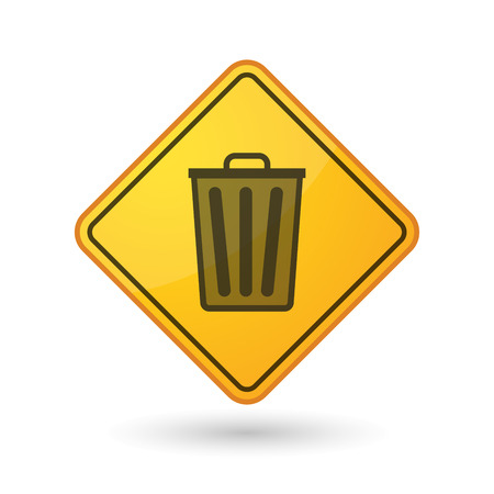 waste prevention: Illustration of an awareness sign with a trash can