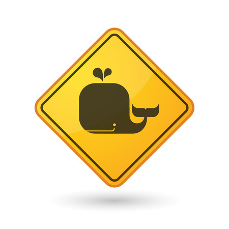 yellow beware: Illustration of an awareness sign with a whale Illustration