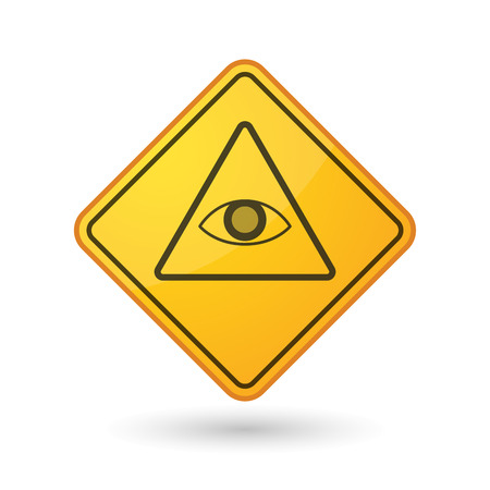 all seeing eye: Illustration of an awareness sign with an all seeing eye