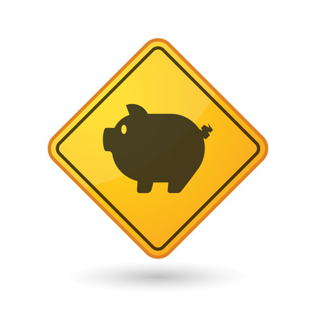 yellow beware: Illustration of an awareness sign with a pig Illustration