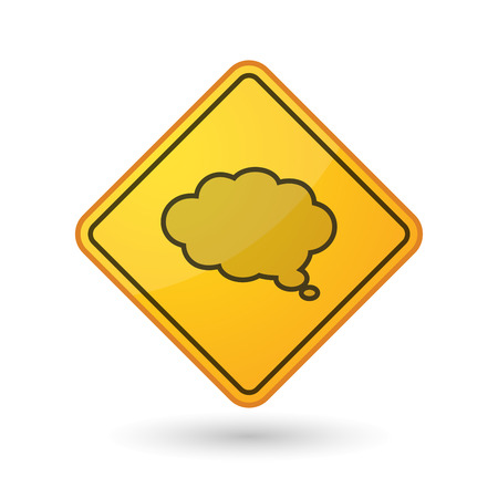 yellow beware: Illustration of an awareness sign with a comic cloud balloon Illustration