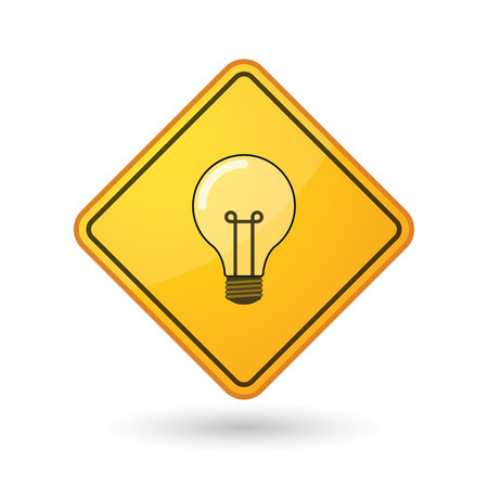 caution sign: Illustration of an awareness sign with a light bulb