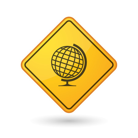 yellow beware: Illustration of an awareness sign with a world globe