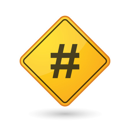 Illustration of an awareness sign with a hash tag