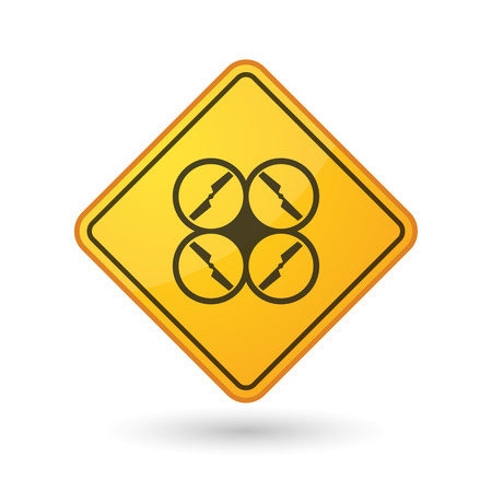 yellow beware: Illustration of an awareness sign with a drone