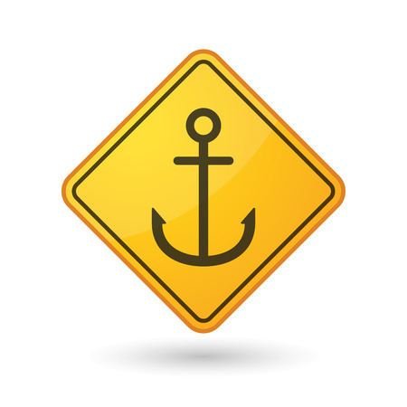 nautic: Illustration of an awareness sign with an anchor Illustration