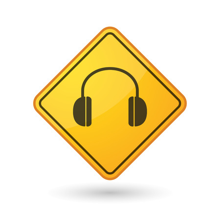 Illustration of an awareness sign with a earphones