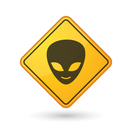 alien face: Illustration of an awareness sign with an alien face