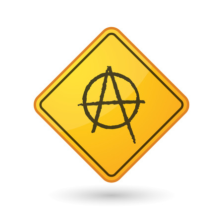 anarchist: Illustration of an awareness sign with an anarchy sign