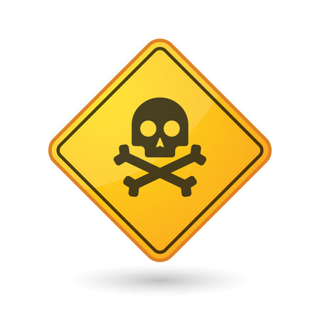 poison sign: Illustration of an awareness sign with a skull
