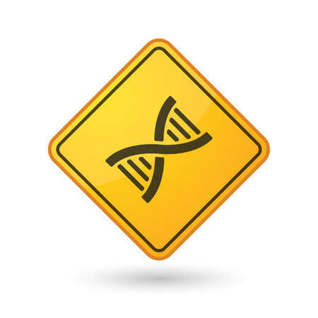 transgenic: Illustration of an awareness sign with a DNA sign