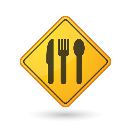 fork in the road: Illustration of an awareness sign with cutlery