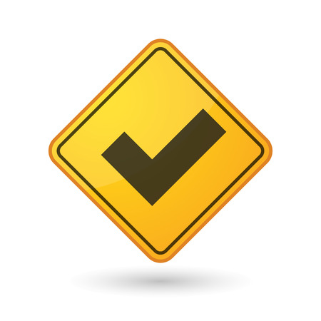 yellow beware: Illustration of an awareness sign with a check mark