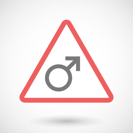 sex traffic: Illustration of a warning signal with a male sign