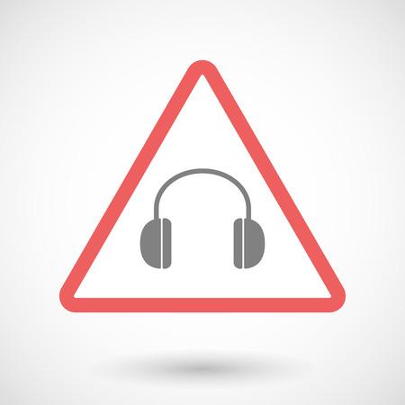 earphones: Illustration of a warning signal with a earphones Illustration