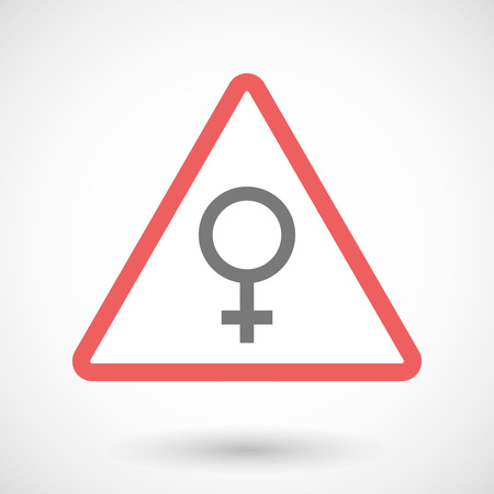 sex traffic: Illustration of a warning signal with a female sign Illustration