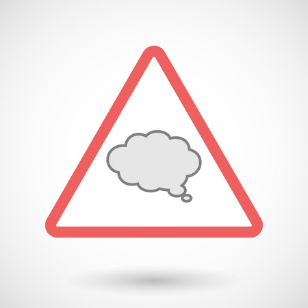 precautions: Illustration of a warning signal with a comic cloud balloon