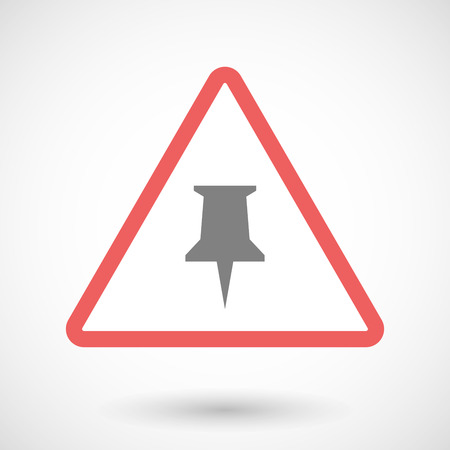 precaution: Illustration of a warning signal with a push pin