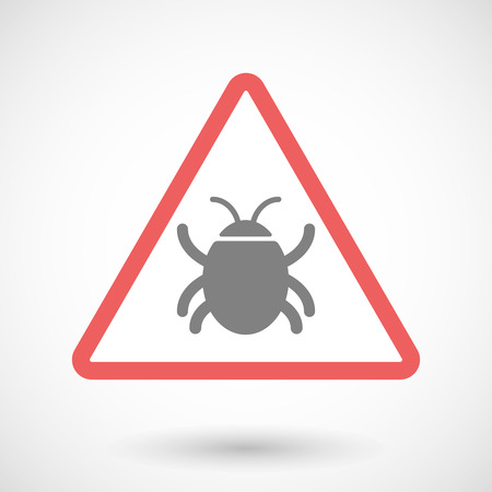 computer worm: Illustration of a warning signal with a bug