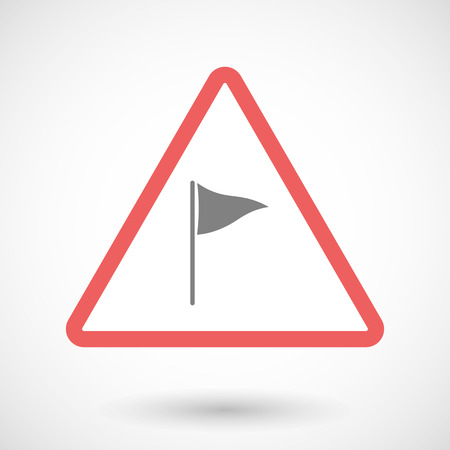 precautions: Illustration of a warning signal with a golf flag Illustration