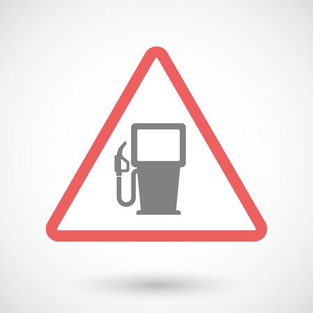 precaution: Illustration of a warning signal with a gas station