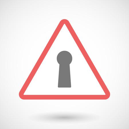 key hole: Illustration of a warning signal with a key hole