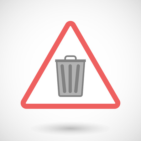 waste prevention: Illustration of a warning signal with a trash can