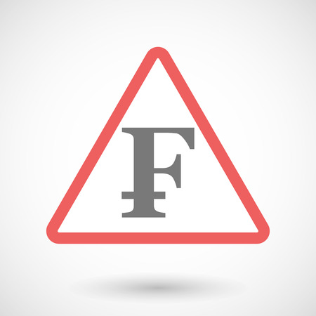 franc: Illustration of a warning signal with a swiss franc sign Illustration