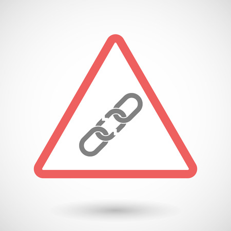 broken link: Illustration of a warning signal with a broken chain