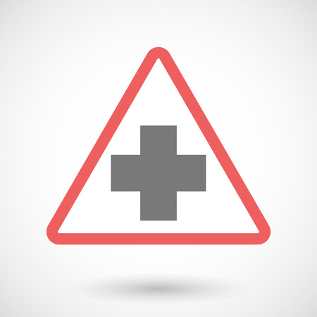 cross street with care: Illustration of a warning signal with a pharmacy sign