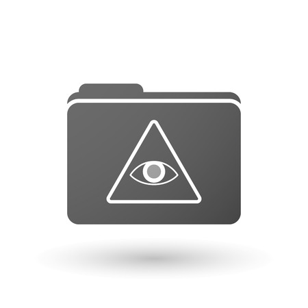 all seeing eye: Illustration of an isolated folder with an all seeing eye