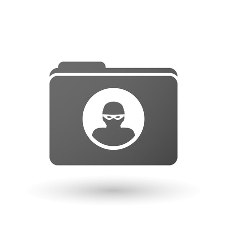 office theft: Illustration of an isolated folder with a thief