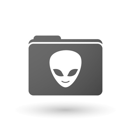 alien face: Illustration of an isolated folder with an alien face