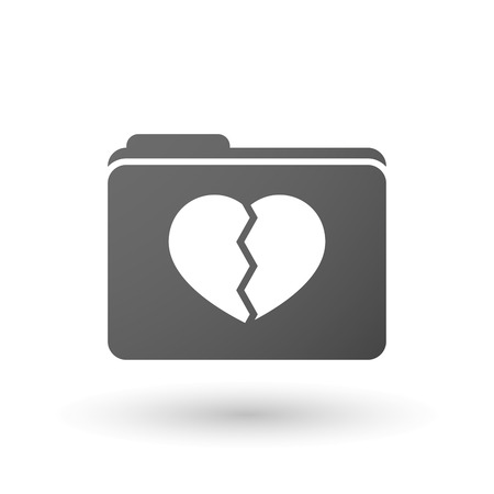 breakup: Illustration of an isolated folder with a broken heart