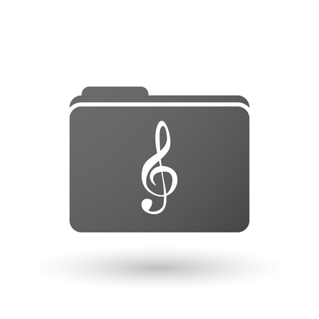 g clef: Illustration of an isolated folder with a g clef
